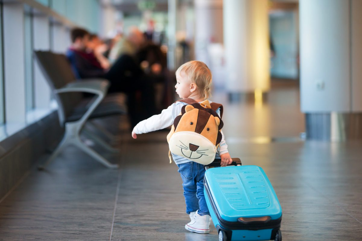 Children,,Traveling,Together,,Waiting,At,The,Airport,To,Board,The